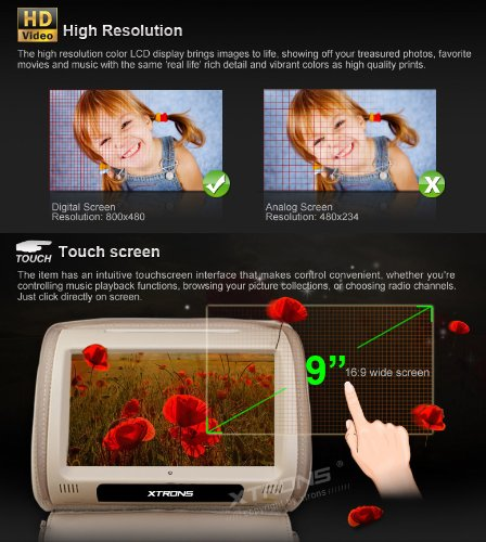 xtrons 2 x twin kfz kopfst tze dvd player 22 9 cm hd. Black Bedroom Furniture Sets. Home Design Ideas