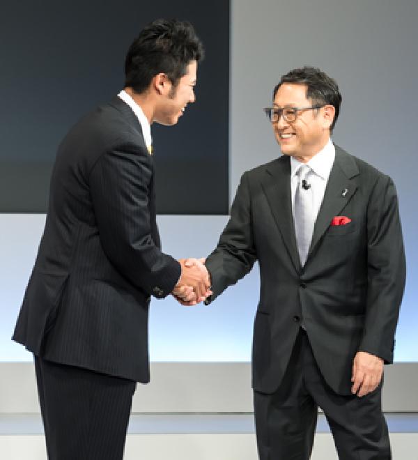 HIDEKI MATSUYAMA with AKIO TOYODA