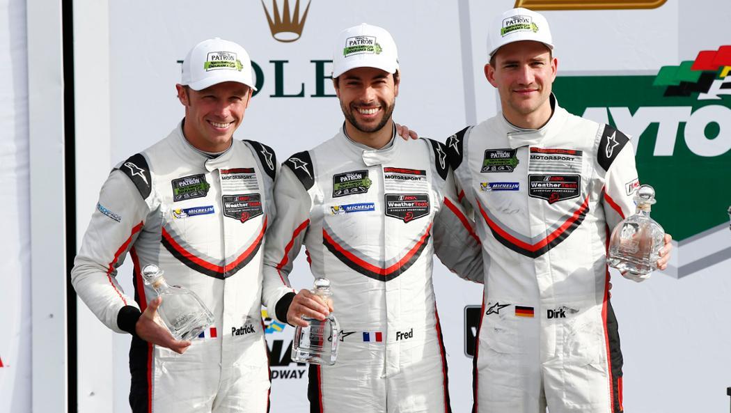 Patrick Pilet, Frederic Makowiecki, Dirk Werner, l-r, IMSA SportsCar Championship, Daytona, USA, 2017, Porsche AG