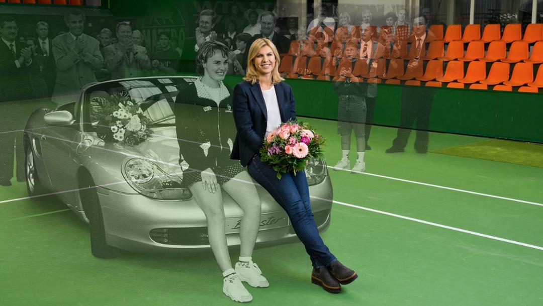 Martina Hingis, Tennisspielerin, Anke Huber, Sportliche Leiterin Porsche Tennis Grand Prix, l-r, Tennishalle, Filderstadt, 1996/2017, Porsche AG