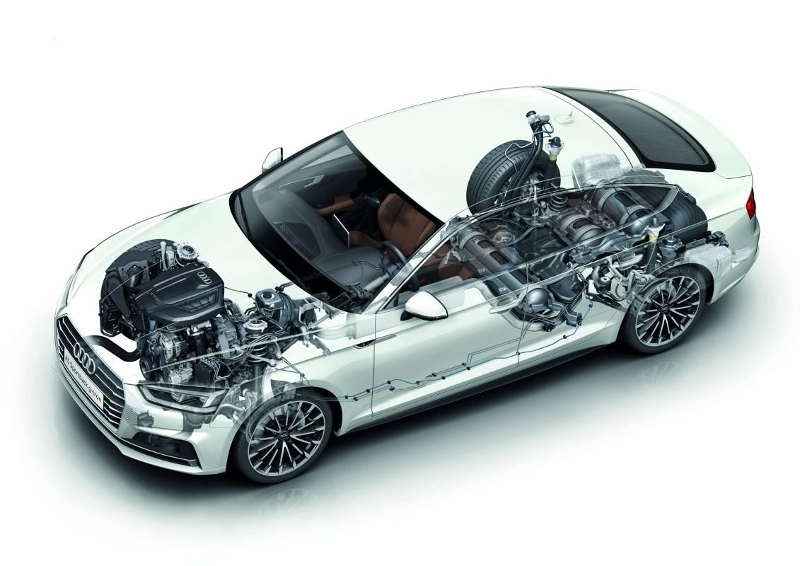 Skizze mit Darstellung der Tanks im Audi A5 Sportback g-tron.