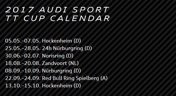 Rennkalnder Audi TT Cup