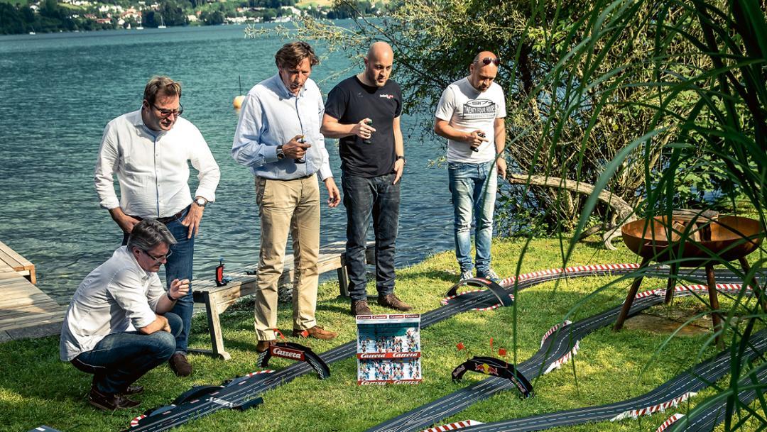 Andreas Stadlbauer, Thomas Matzelberger, Helmut Eggert, Walter Lechner, Robert Lechner, l-r, Carrera-Bahn, Attersee, 2017, Österreich, Porsche AG