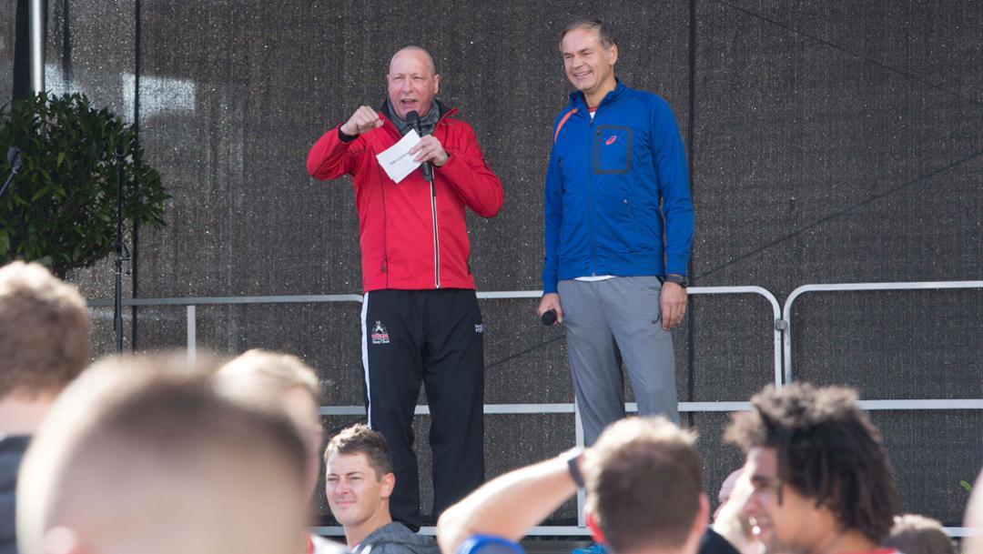 Uwe Hück, Vorsitzender des Konzernbetriebsrates, Oliver Blume, Vorstandsvorsitzender, l-r, Porsche 6-Stunden-Lauf, Zuffenhausen, 2017, Porsche AG