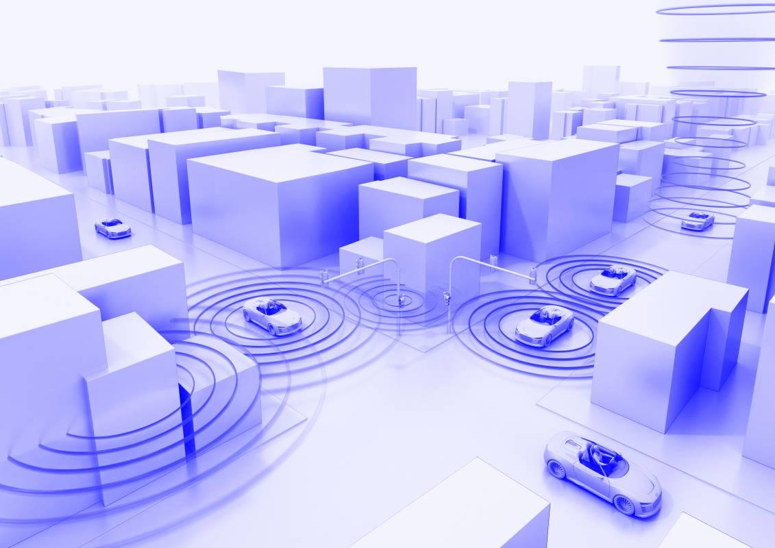 Grafikdarstellung vernetzter Fahrzeuge