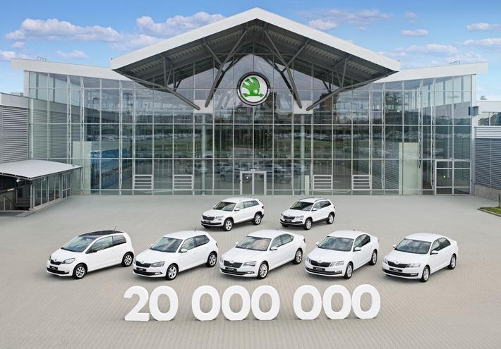 SKODA AUTO erreicht Meilenstein von 20 Millionen produzierten Automobilen